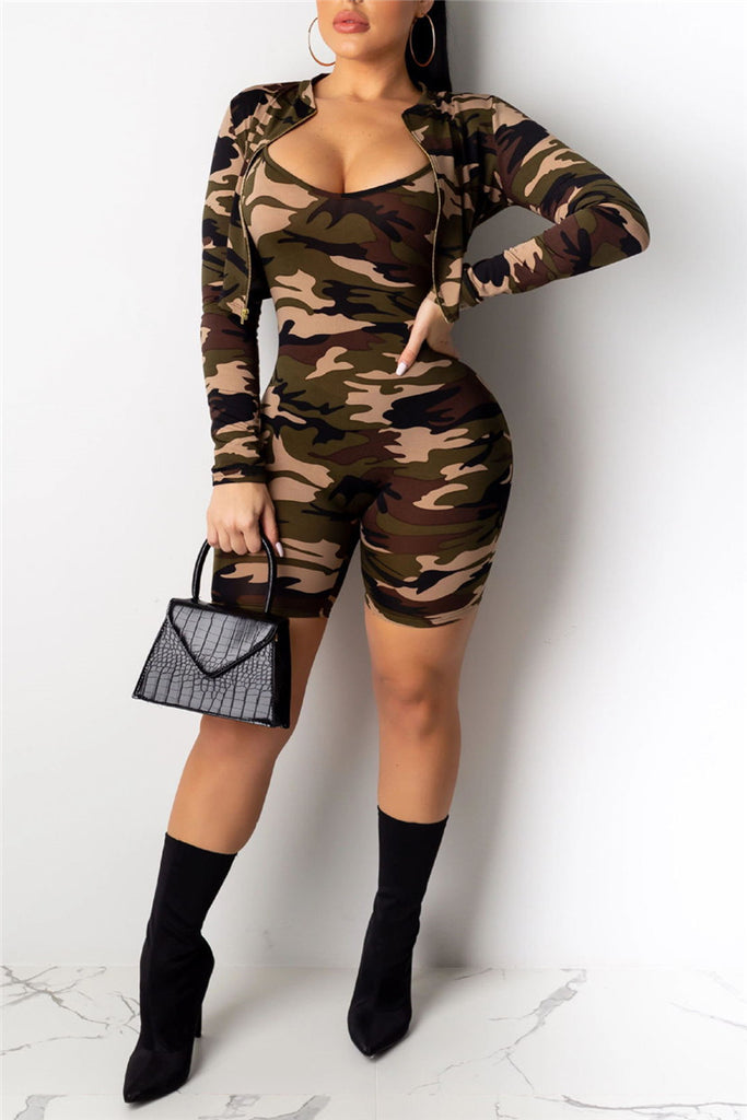 Camouflage Print Long Sleeve Jacket & Romper