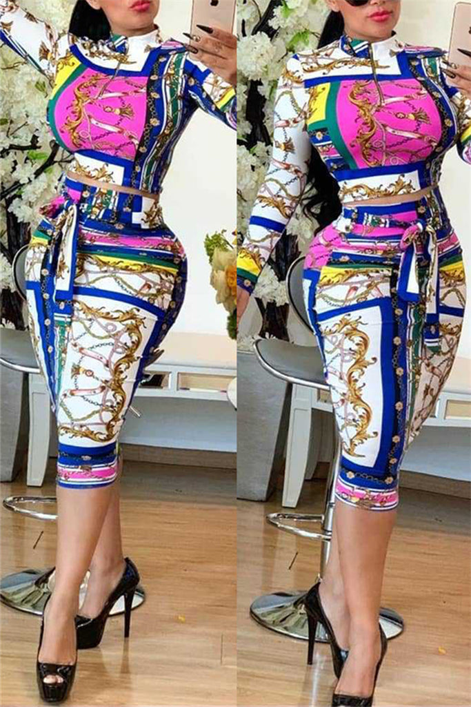 Quarter Zip Long Sleeve Printed Two Piece Dress
