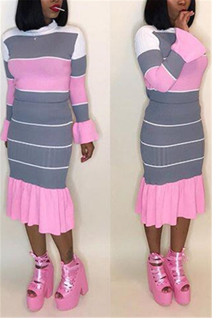 Color Block Flare Sleeve Ruffled Two Piece Dress