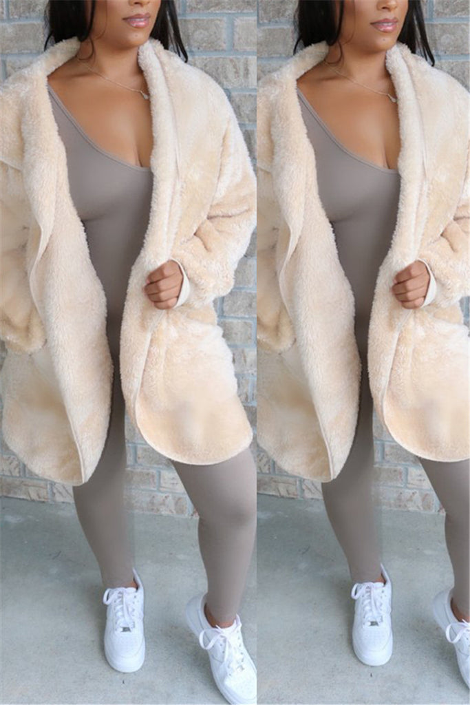 Hooded Collar Solid Color Pocket Plush Coat