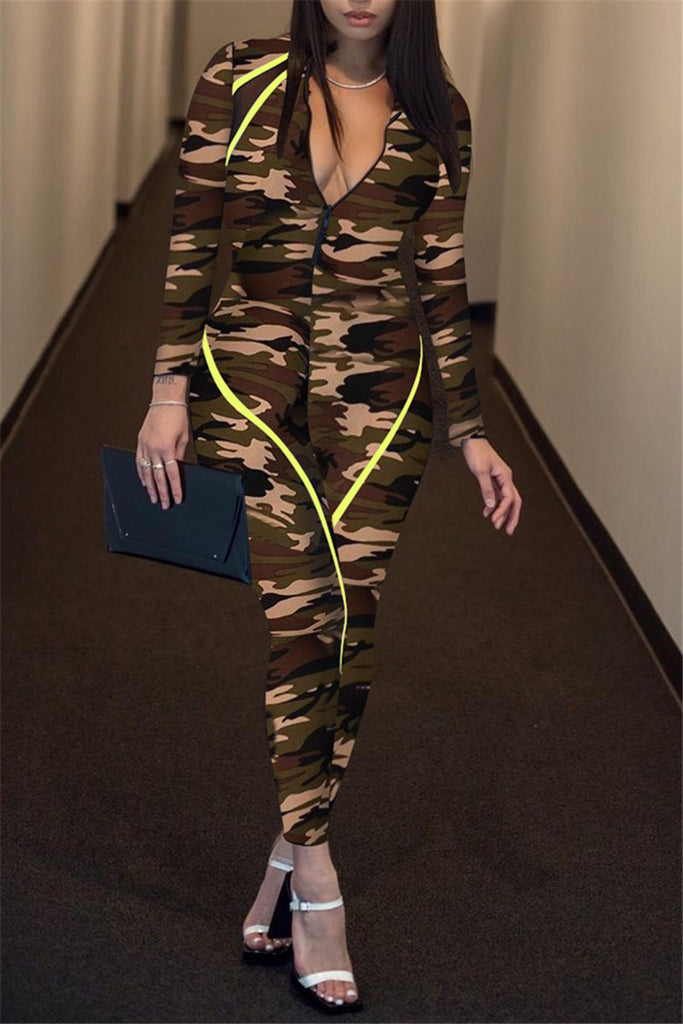 Zip Up Long Sleeve Camouflage Jumpsuit