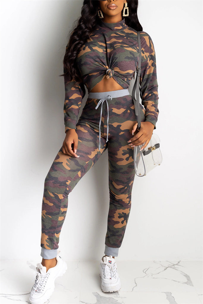 Camouflage Print Long Sleeve Two Piece Sets