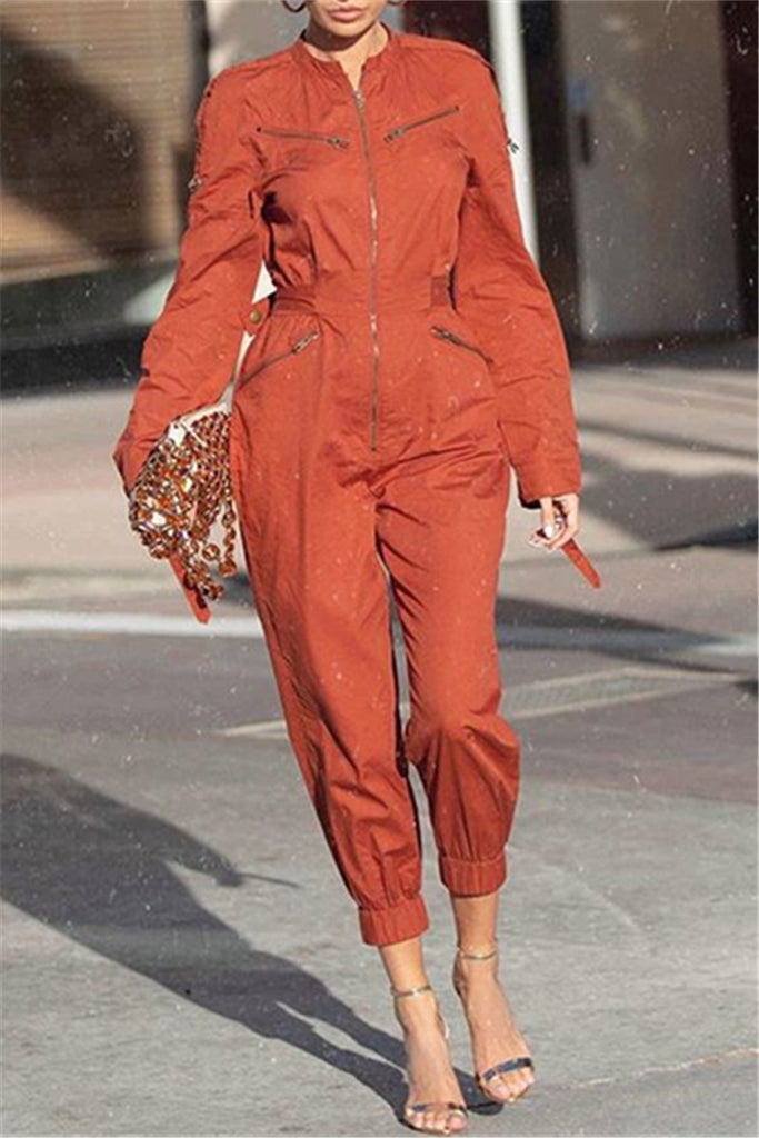 Solid Color Zip Up Pocket Jumpsuit