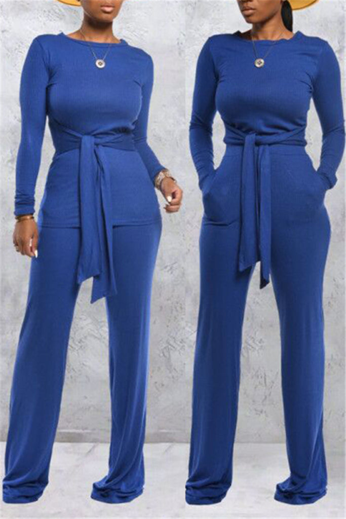 Tie Up Solid Color Casual Two Piece Sets