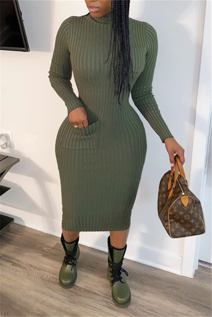 High Neck Solid Color Long Sleeve Midi Dress