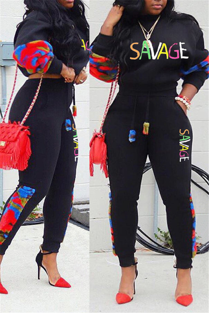 Plus Size Letter Embroidered Patchwork Two Piece Sets