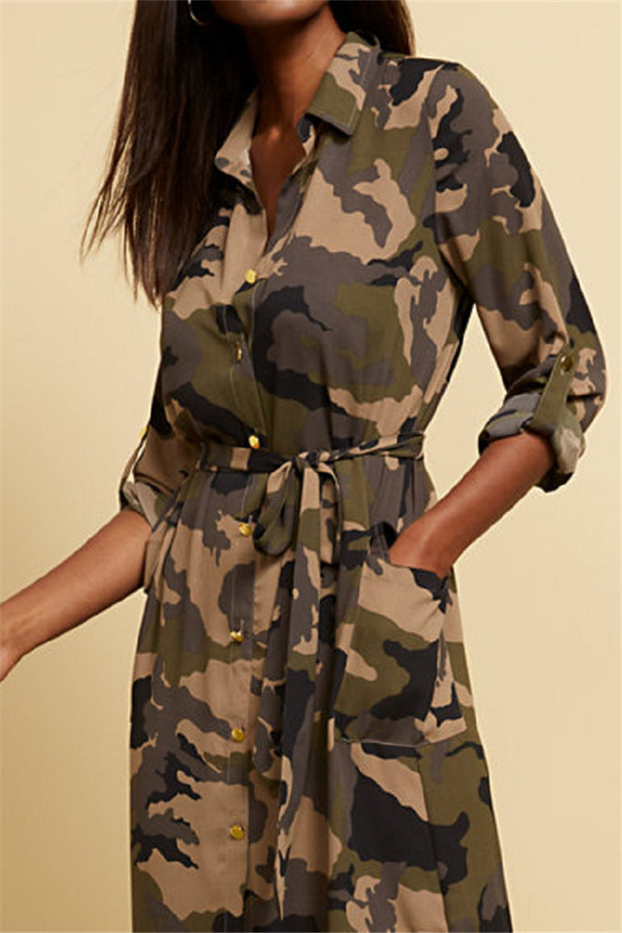 Camouflage Print Button Up Pocket Dress