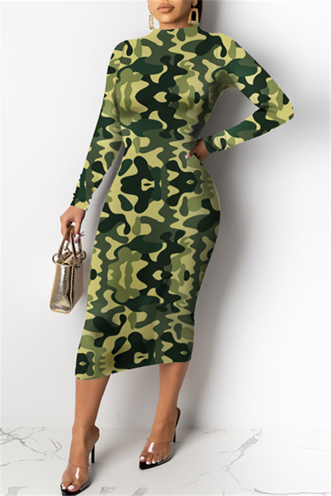 Camouflage & Stripe Print Long Sleeve Midi Dress