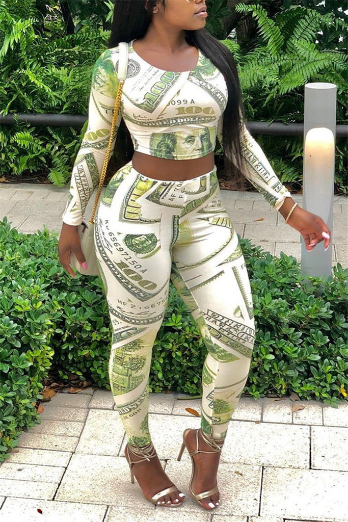 Dollar Print Long Sleeve Casual Two Piece Sets