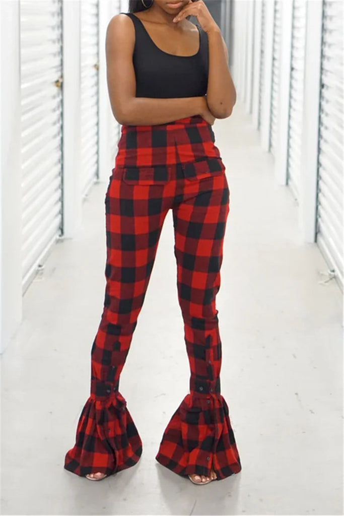 High Waist Plaid Print Flare Pants