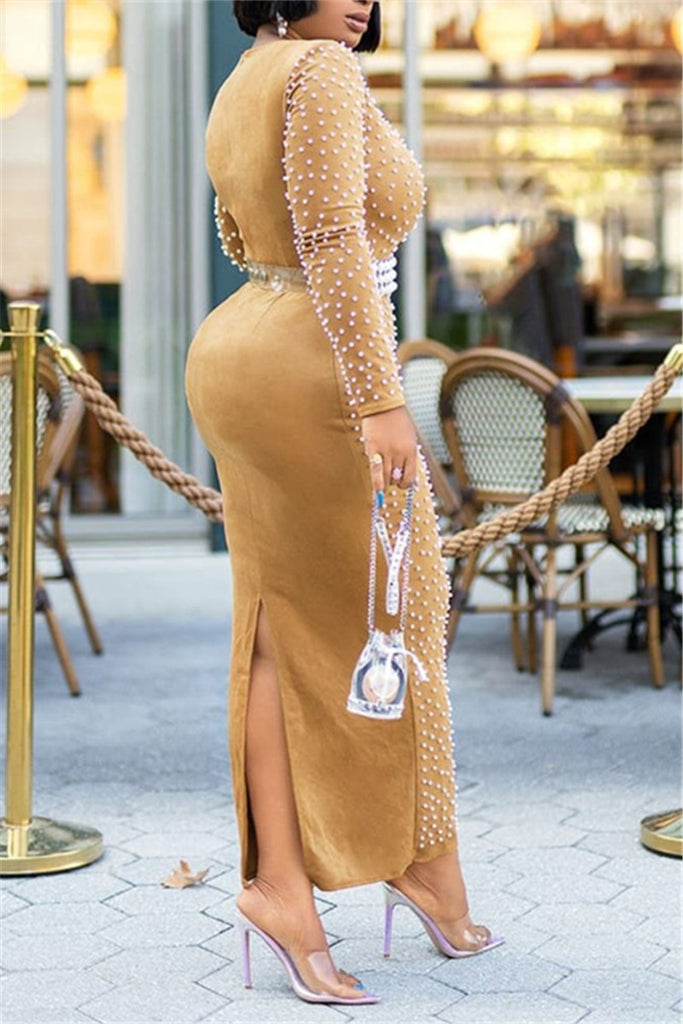 Pearl Decor Back Slit Maxi Dress Without Belt