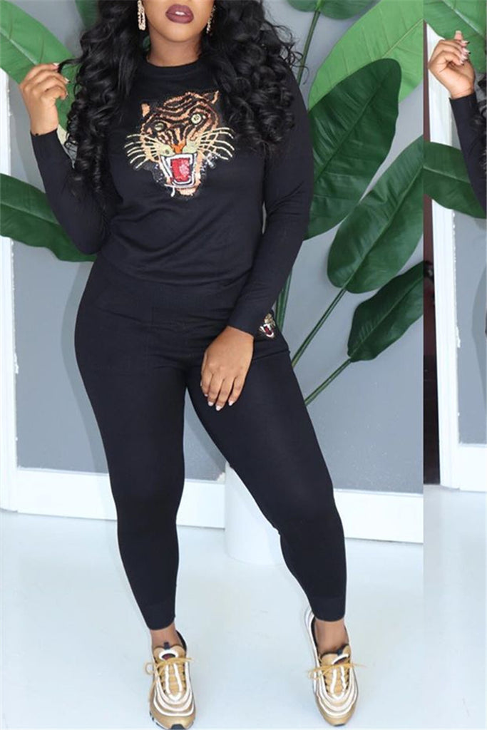Tiger Head Long Sleeve Casual Two Piece Sets