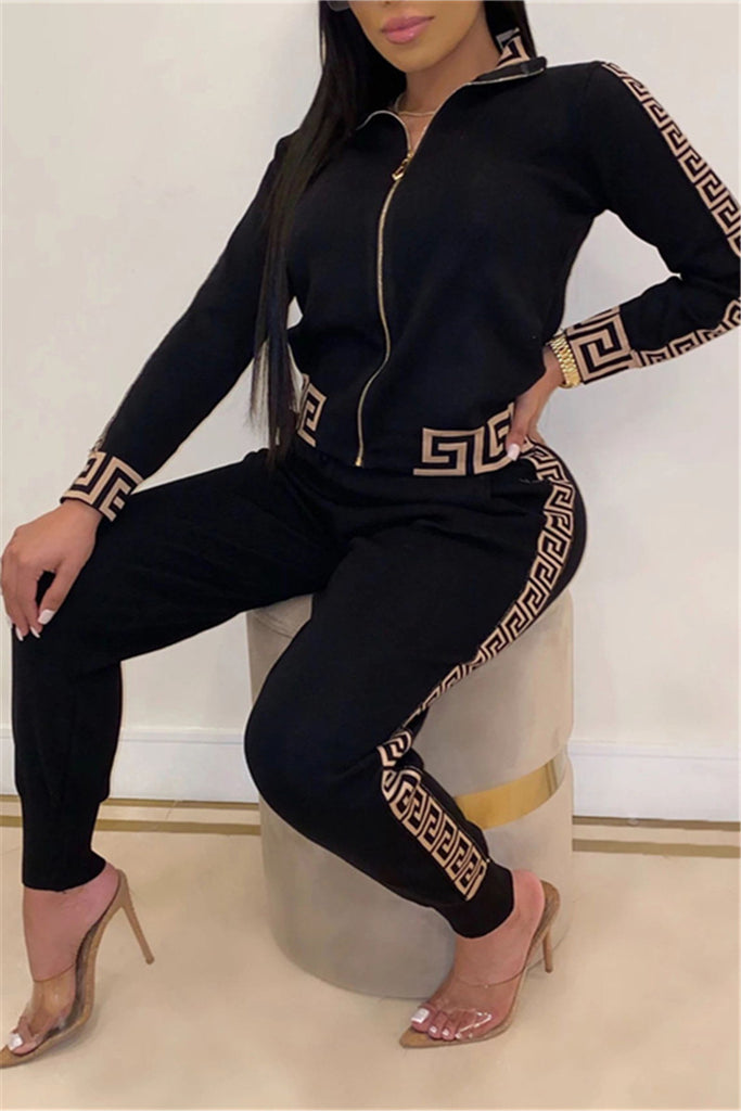 Zip Up Patchwork Long Sleeve Two Piece Sets