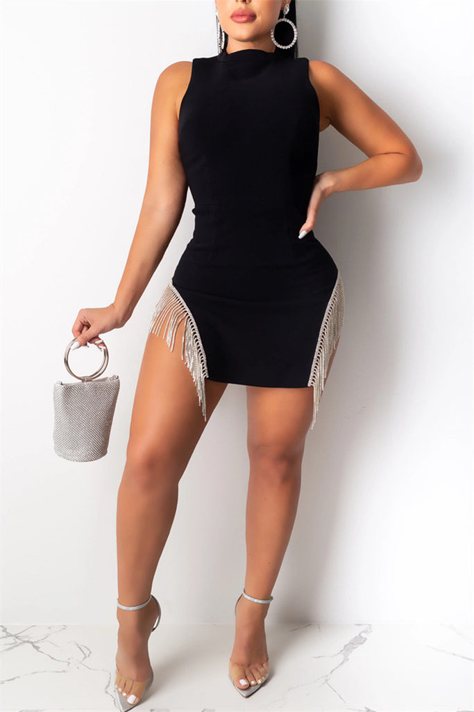 Tassels Decor Sleeveless Sexy Mini Dress