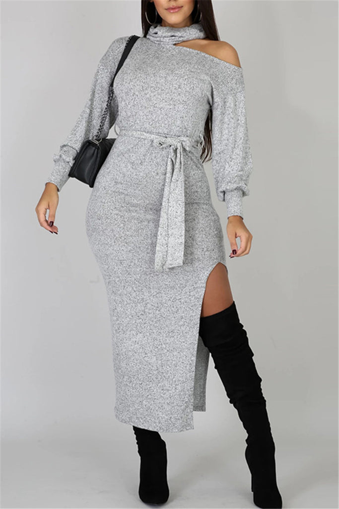 Cutout Shoulder Side Slit Belted Dress