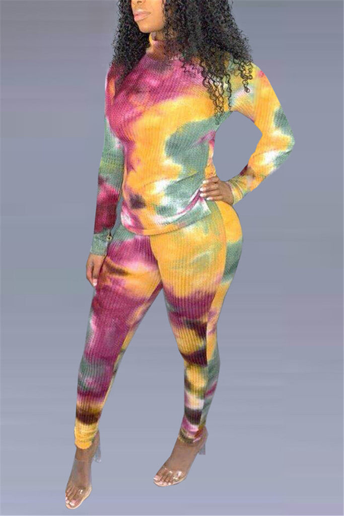 Tie Dye Print Long Sleeve Casual Two Piece Sets