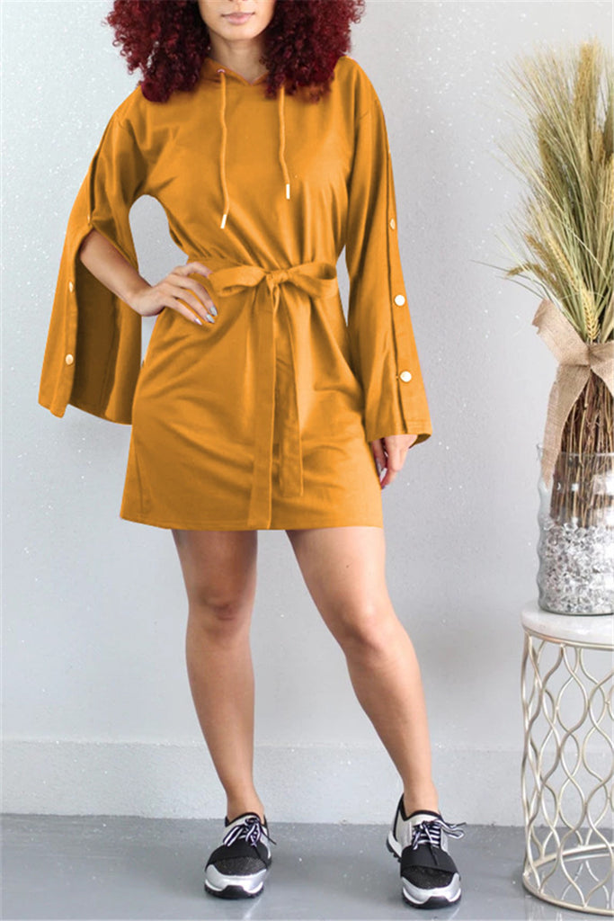 Button Sleeve Hooded Collar Belted Dress