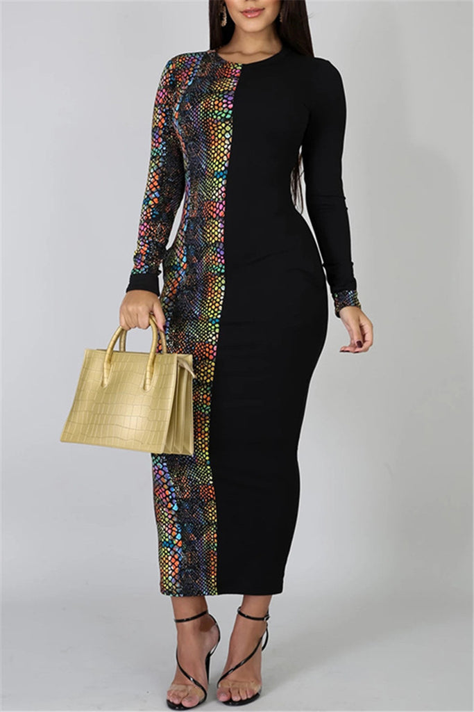 Snake Print Patchwork Pocket Dress