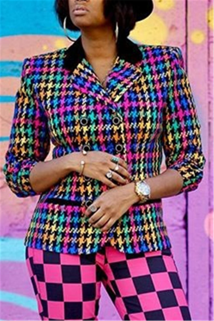 Turndown Collar Colorful Houndstooth Blazer
