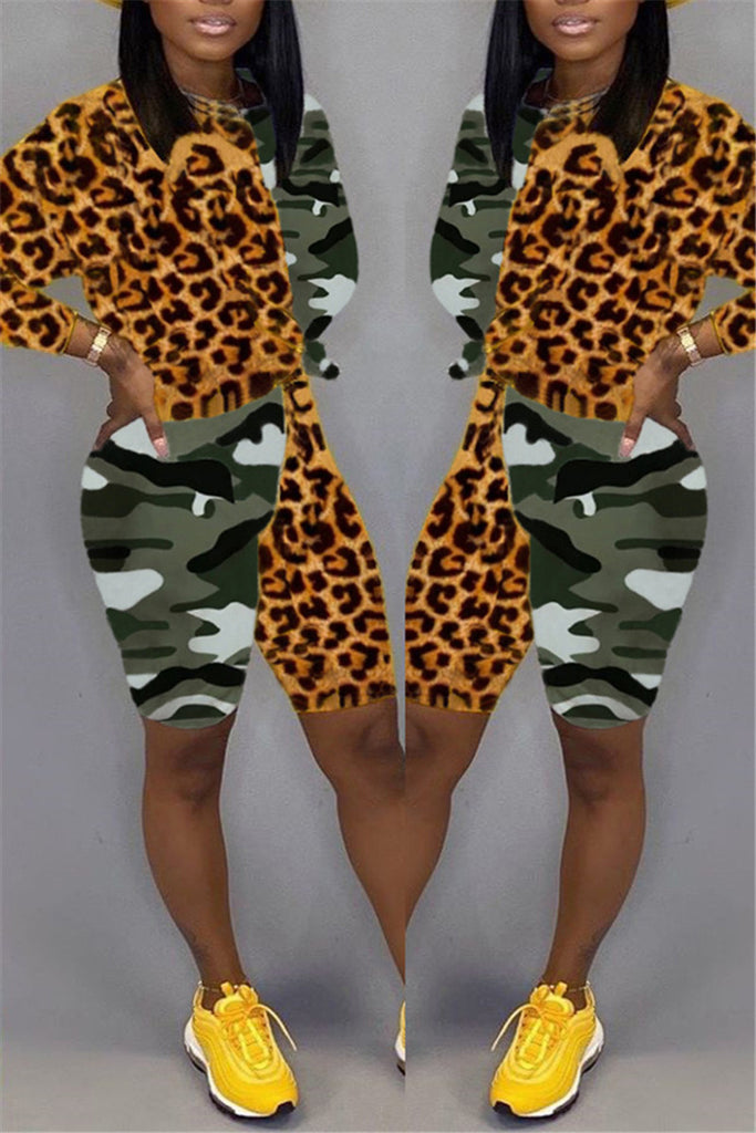 Leopard & Camouflage Patchwork Two Piece Sets