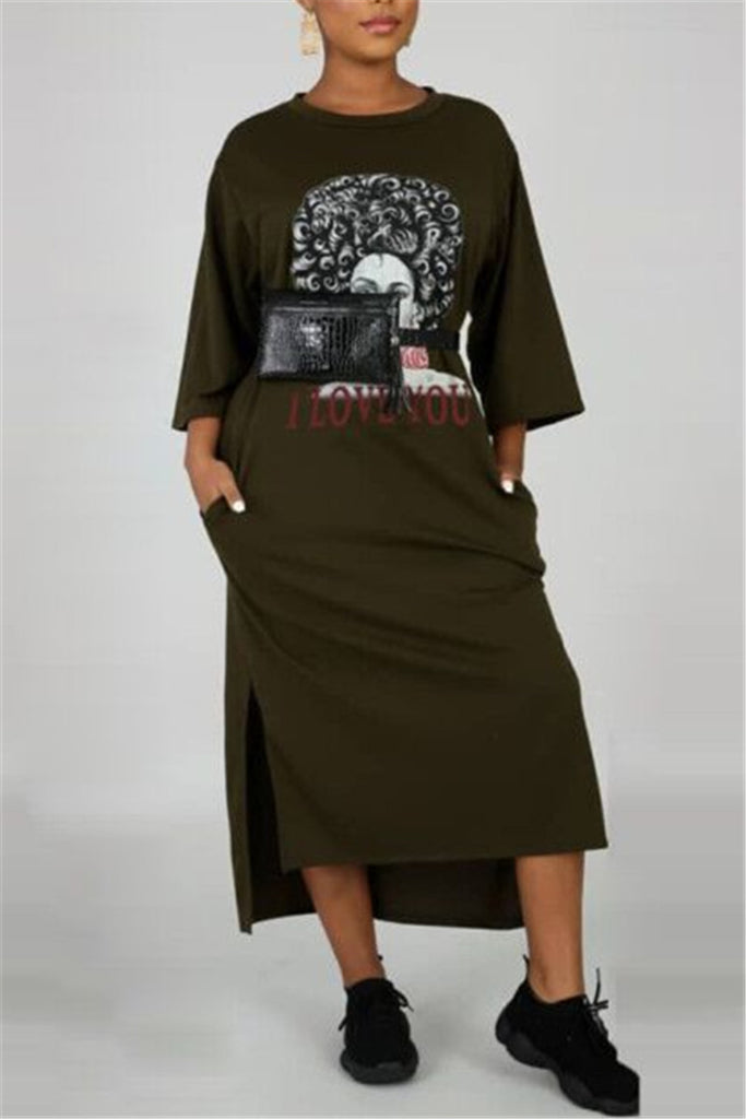 Letter Print Side Slit Pocket Casual Dress