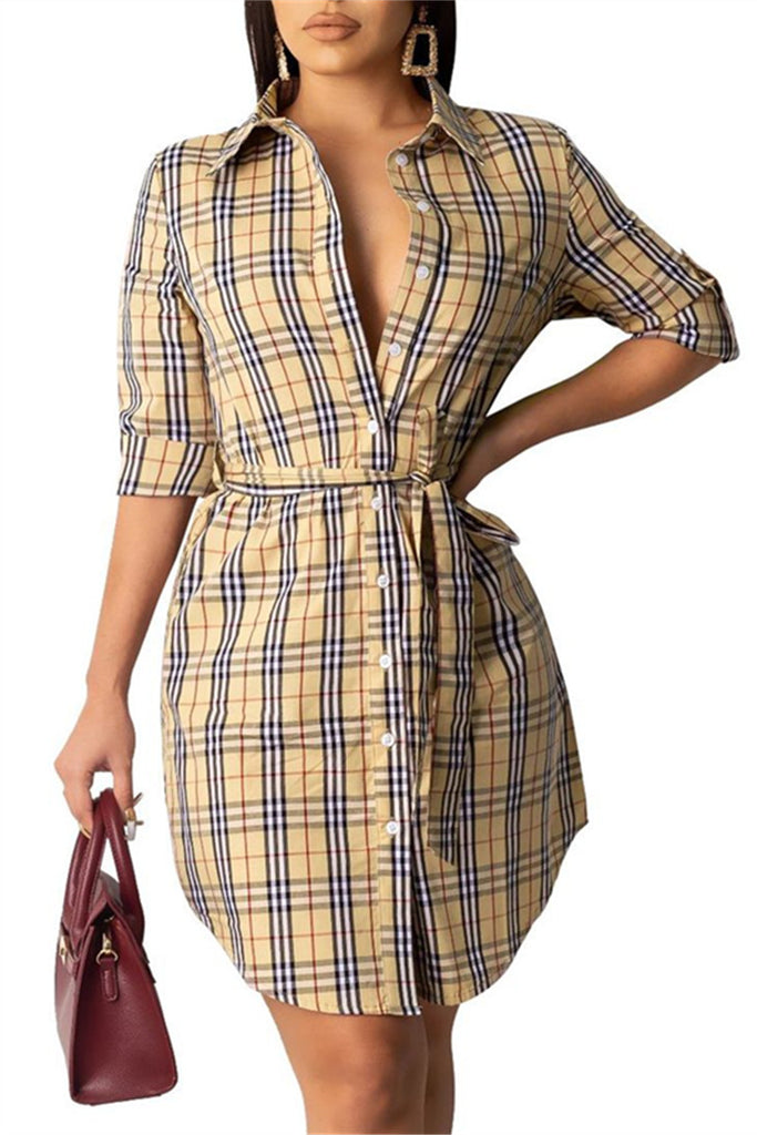 Button Up Long Sleeve Plaid Dress