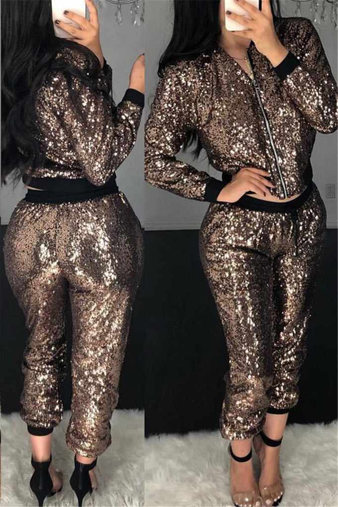 Zip Up Long Sleeve Sequined Two Piece Sets