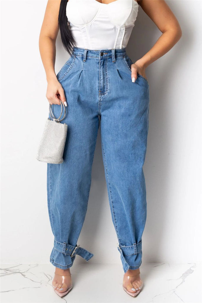 High Waist Pocket Loose Jeans