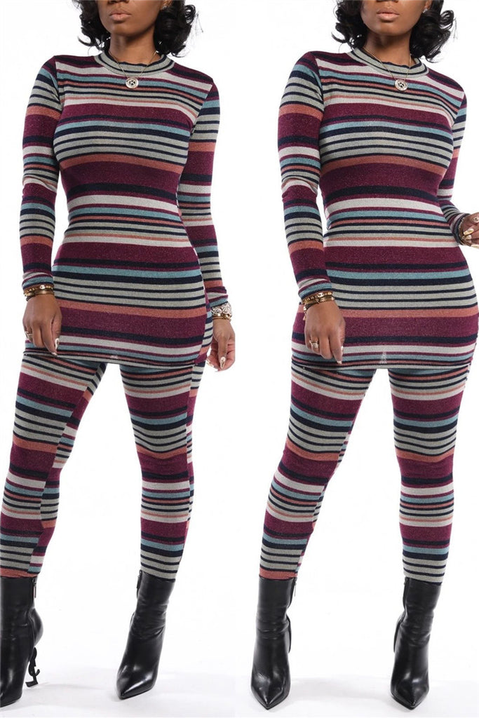Stripe Print Long Sleeve Two Piece Sets