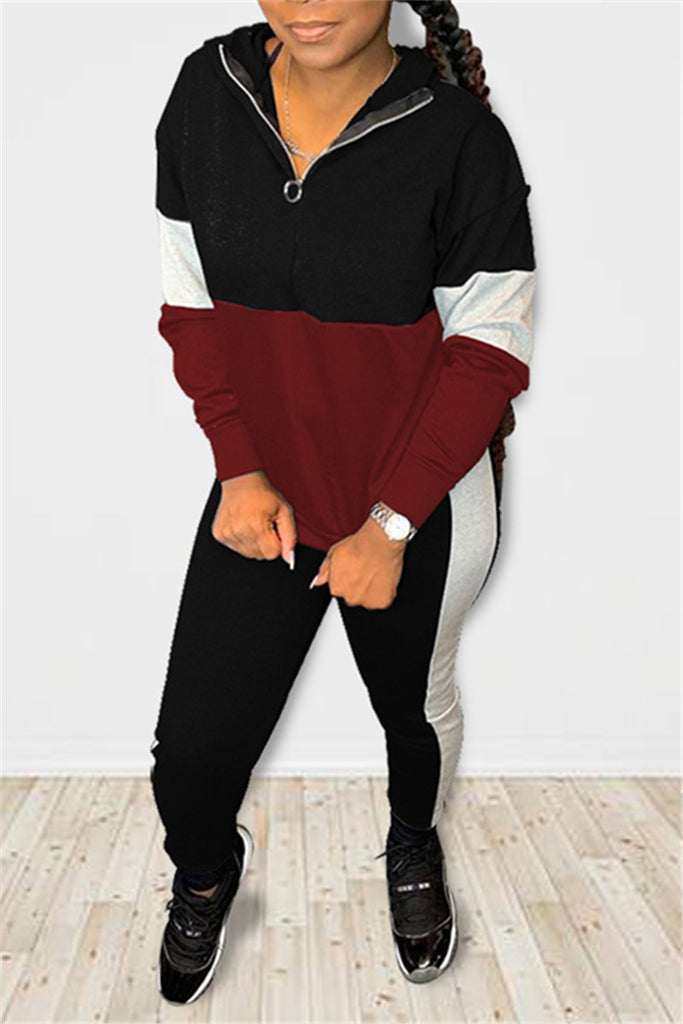 Quarter Zip Color Patchwork Hooded Top & Pants