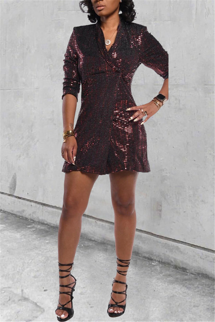 Sequined One Button Long Sleeve Coat