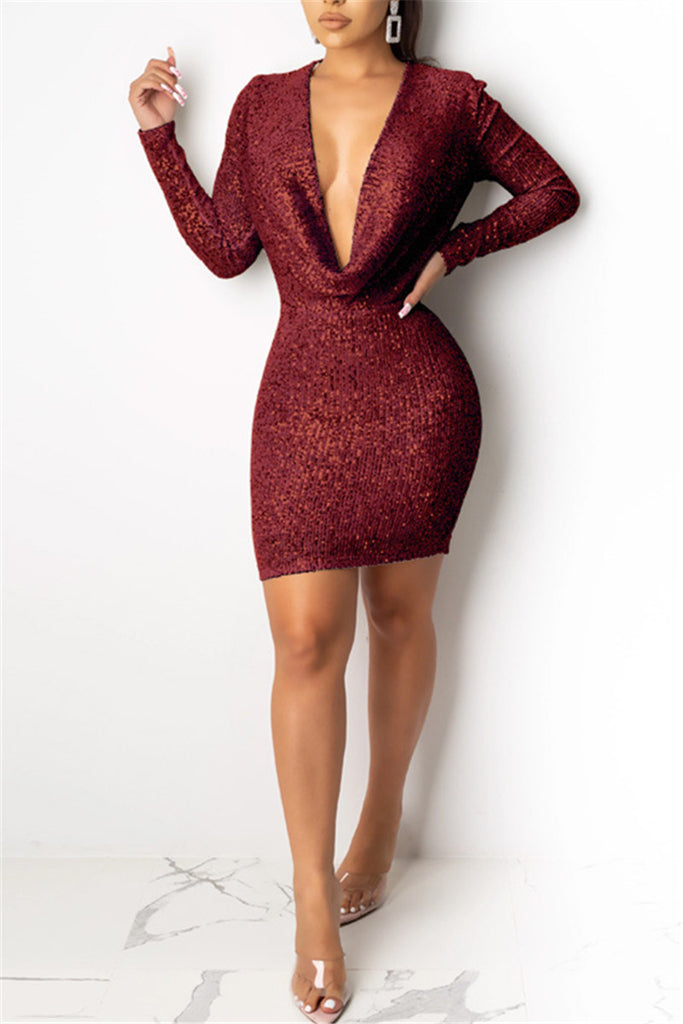 Cowl Neck Long Sleeve Sequined Dress