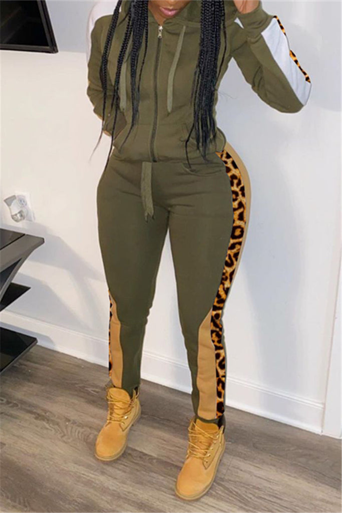 Leopard Patchwork Zip Up Hooded Two Piece Sets