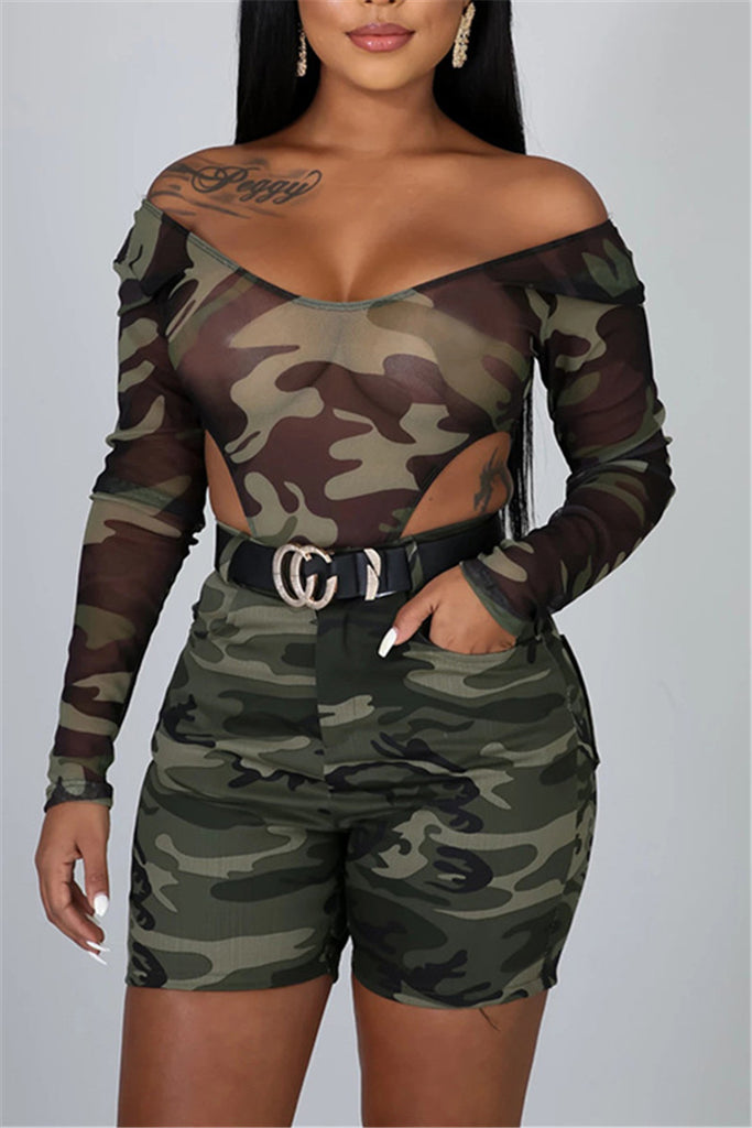 Camouflage Print Long Sleeve Sexy Bodysuit & Shorts