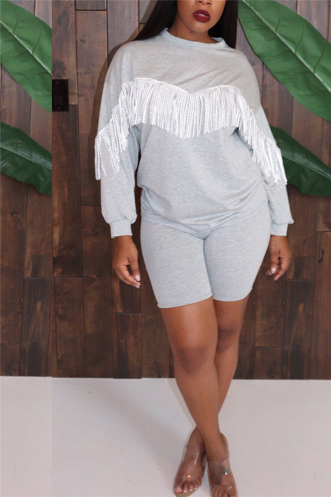 Tassels Decor Long Sleeve Casual Top & Shorts