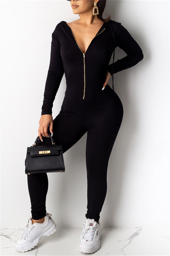 Zip Up Long Sleeve Hooded Jumpsuit