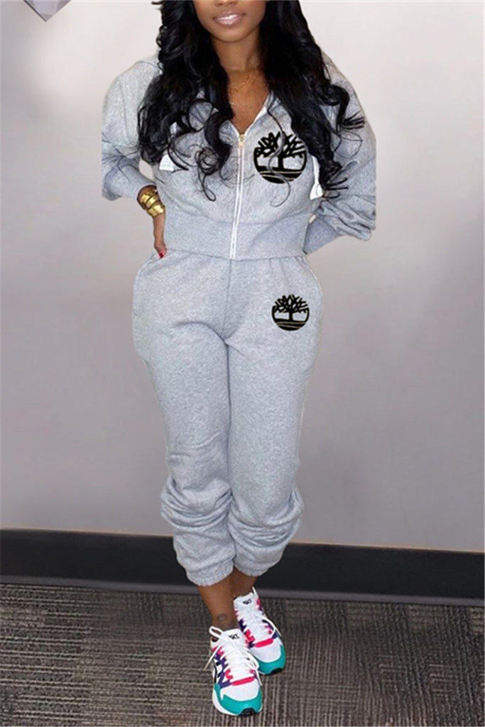 Embroidered Zip Up Hooded Two Piece Sets