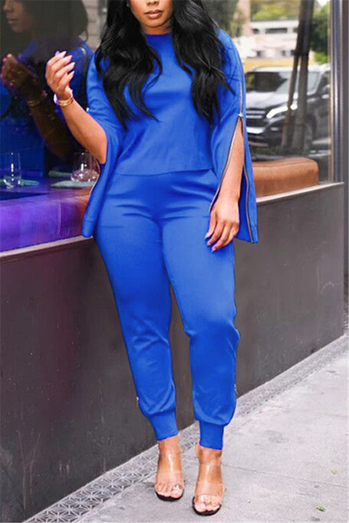 Zipper Sleeves Solid Color Casual Two Piece Sets