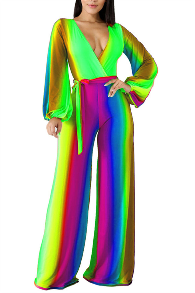 Rainbow Color Long Sleeve Belted Jumpsuit