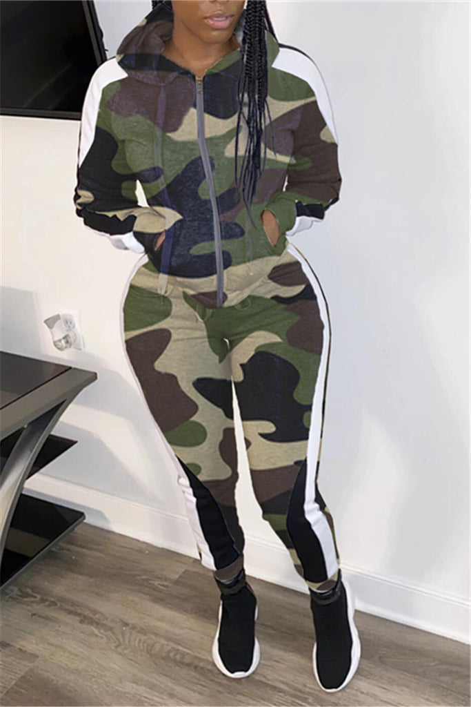 Hooded Collar Zip Up Camouflage Two Piece Sets