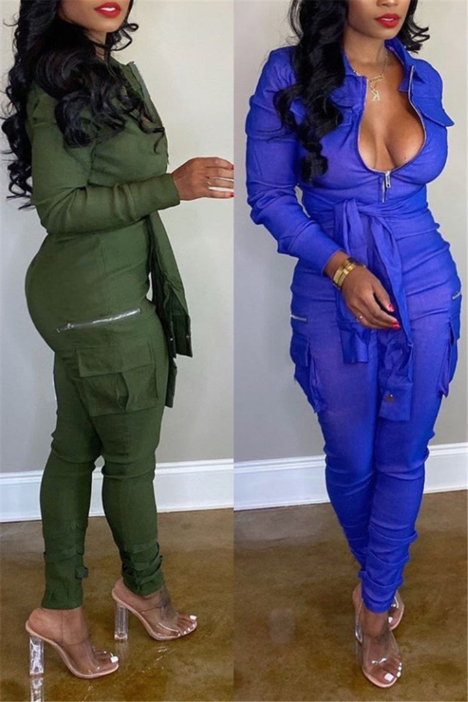 Zip Up Solid Color Long Sleeve Pocket Jumpsuit