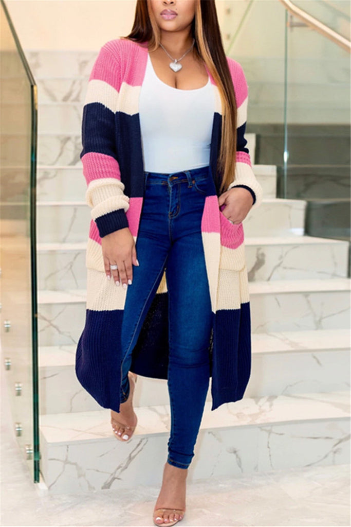 Color Block Long Sleeve Pocket Cardigan