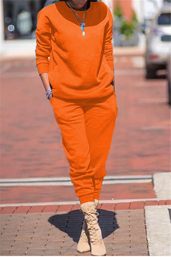 Solid Color Long Sleeve Pocket Two Piece Sets