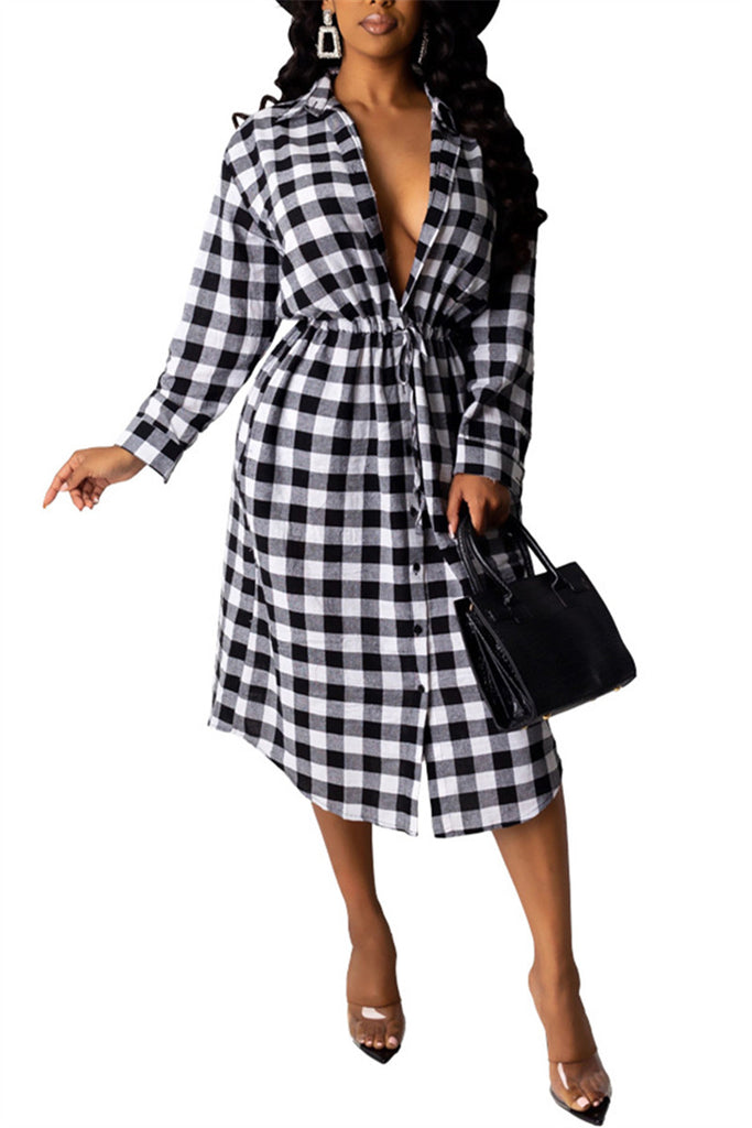 Plaid Print Drawstring Waist Shirt Dress
