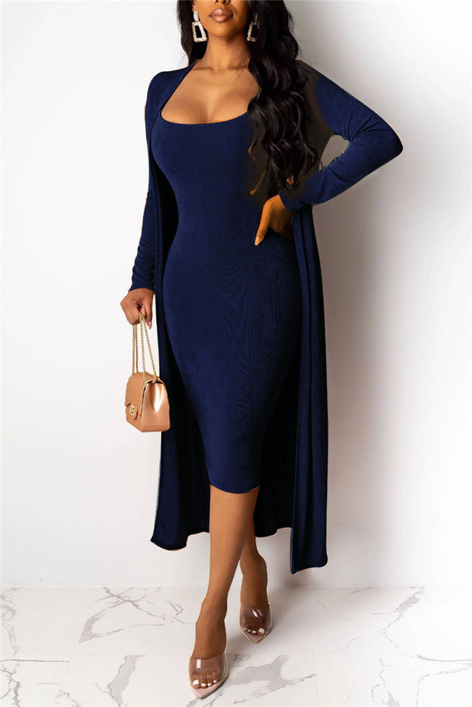 Spaghetti Straps Solid Color Dress & Cardigan