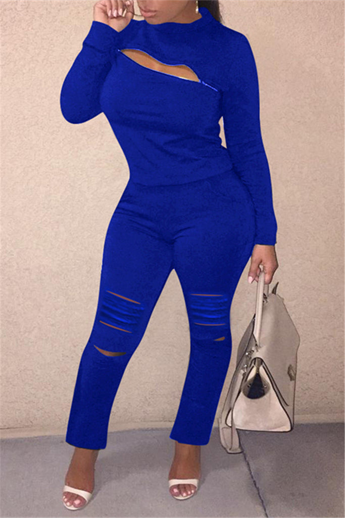 Hole Distressed Plus Size Zipper Two Piece Sets