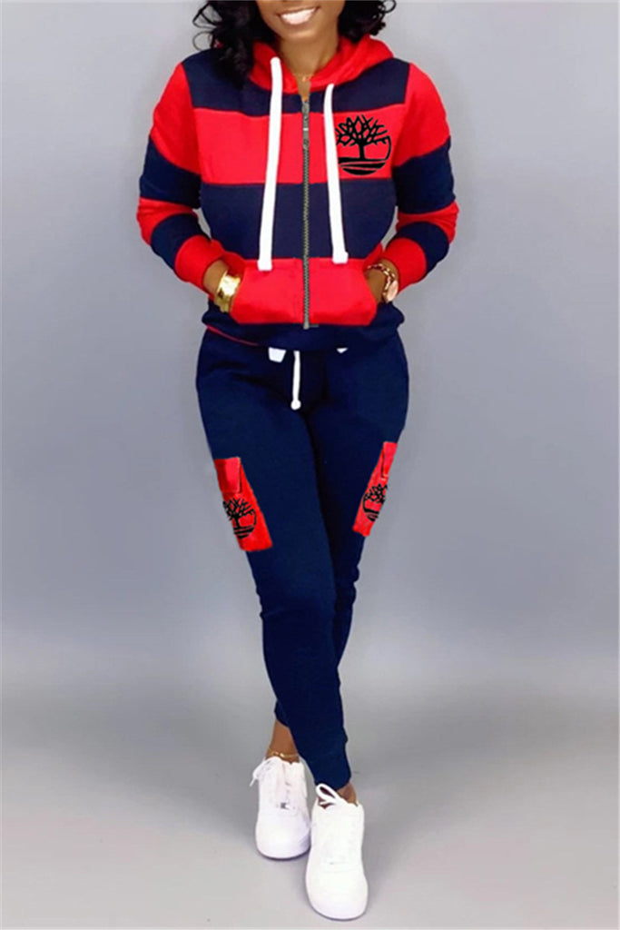 Zip Up Hooded Collar Printed Casual Two Piece Sets