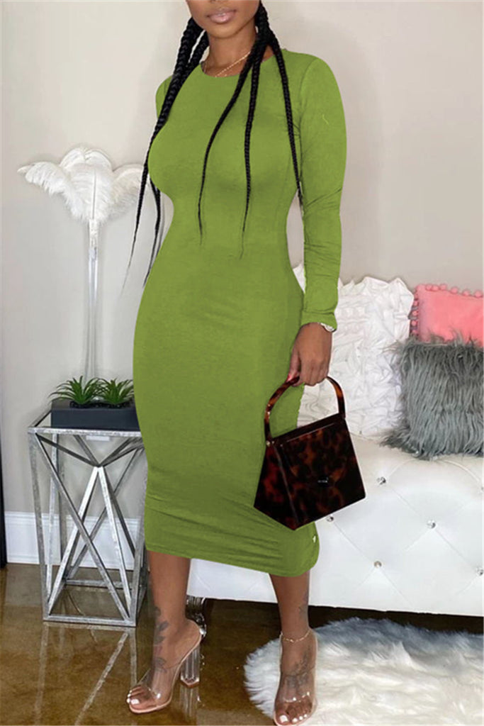 Solid Color Button Side Slit Midi Dress