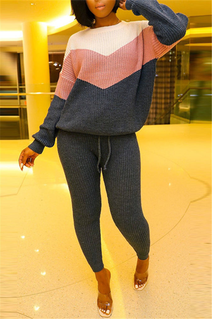 Color Block Long Sleeve Knitted Two Piece Sets