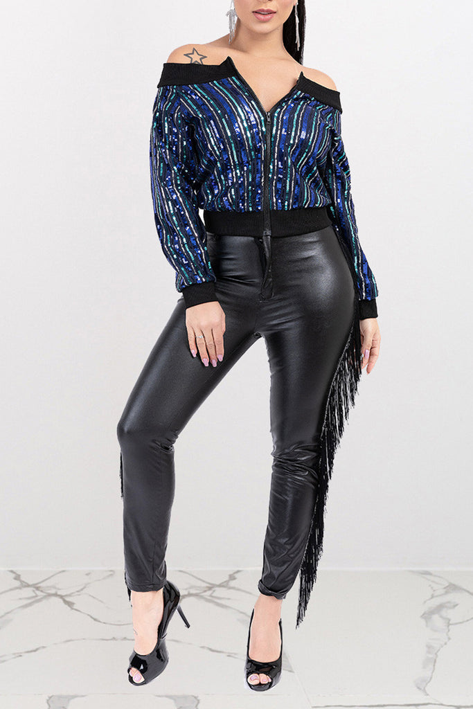 Sequins Off The Shoulder Zipper Jacket